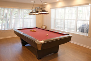 Lounge area with pool table and large windows