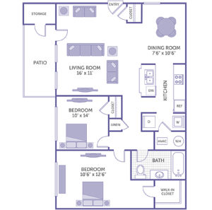"""Bedroom 10'6"""" x 12'6"""" with walk-in closet. Bedroom 10' x 14' with closet. Living room 16' x 11'. Dining room 7'6"""" x 10'6"""". 1 closet. 1 linen closet. 1 full bath. Kitchen. Patio with storage closet. Washer and dryer in unit."""