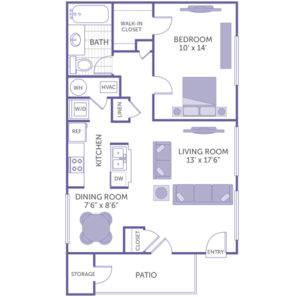 """Bedroom 10' x 14' with walk-in closet. Living room 13' x 17'6"""". Dining room 7'6"""" x 8'6"""". 1 full bath. 1 linen closet. 1 closet. Kitchen. Patio with storage closet. Washer and dryer in unit."""
